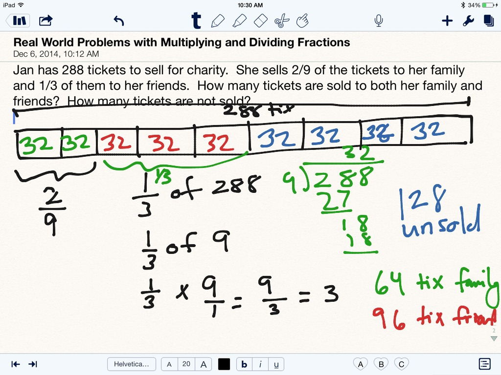 Real World Problems Involving Multiplying And Dividing Fractions  Page 288  (1)