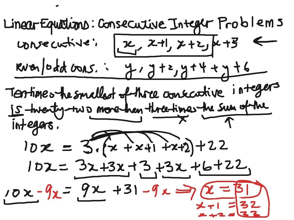 ShowMe quadratic consecutive integer problems – Consecutive Integer Problems Worksheet