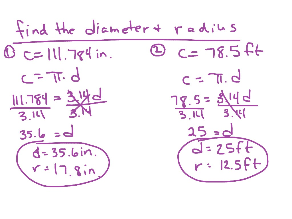 worksheet Diameter Radius showme diameter radius cicumference of a circle finding and from the circumference